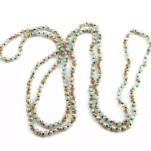 Extra long beaded crystal necklace